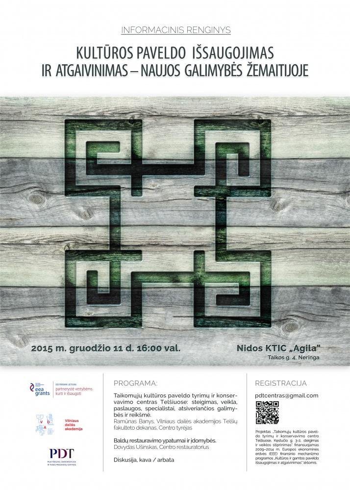 Taikomųjų kultūros paveldo tyrimų ir konservavimo centrasTelšiuose bus pristatytas Nidoje